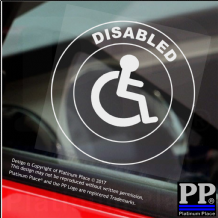 1 x Disabled With Logo-Round-Window Sticker-Sign,Car,Warning,Notice,Child,Friend